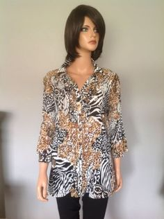 Dressbarn Women Blouse 1X Animal Print Pleads Designer Fashion Clothing   eBay