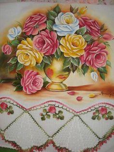 Pano de copa em pintura em tecido e croc | Artes em Crochê e Pintura | 1A68D6…