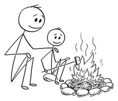 Cartoon stick man drawing conceptual illustration of father and son sitting around fire or campfire. Line Drawing, Drawing Sketches, Campfire Drawing, Stick Men Drawings, Stick Figure Drawing, Stick Man, Cartoon Man, Sketch Notes, Stick Figures