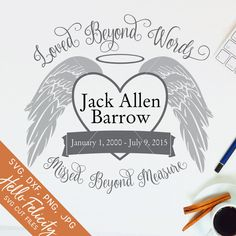 Memorial Svg Loved Beyond Words Svg Angel Wings Svg Png Memorial Tattoo Quotes, In Loving Memory Tattoos, Personalized Memorial Gifts, Svg Files For Cricut, Cricut Fonts, Beyond Words, Window Decals, Svg Cuts, Cricut Design