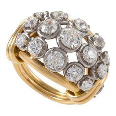 1940s Van Cleef & Arpels Diamond Gold Platinum Bombé Ring | 1stdibs.com