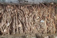 Plague pit, London. Hundreds of thousands were buried in mass graves; often there were not enough left alive to bury the dead.  Probably buried in the plague in the 1300's or 1600's.  Some of these mass plague burial sites are still being discovered