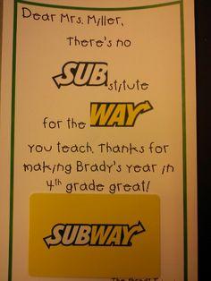 Subway brief. Briefpapier thema eten/broodjes. Kadokaart Subway, Logo Sub/way.  Werkwijze: (knip de logo Subway door midden) Schrijf op de brief:  Lieve Juf/Meester. There's no SUB (logo) stitute for the WAY(logo) you teach. en maak de brief verder af met eigen tekst. Plak onder aan de brief de kadokaart van SUBWAY. Hiervan kan de leerkracht een keer lekker gaan lunchen.