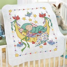 Baby by Herrschners® Pre-Quilted Dreamland Baby Quilt Stamped Cross-Stitch Kit Was: $50.00                     Now: $40.00