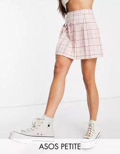 ASOS DESIGN Petite pleated tennis mini skirt in pink check print | ASOS Plaid Skirts, Mini Skirts, Asos, Check Printing, Tartan Plaid, Tennis, Pink, Must Haves