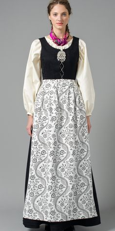 Northern Norway bunad with white shirt and black patterned apron Norwegian Clothing, Norwegian People, Dress Outfits, Cool Outfits, Costumes Around The World, Scandinavian Fashion, Folk Costume, Summer Outfits Women, Classy And Fabulous