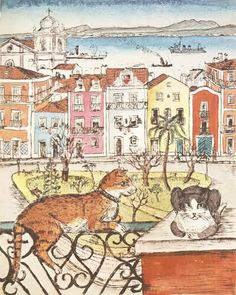 Panorama magazine, 1946 | watercolor painting of Lisbon | cover cats by Anne Marie Jauss