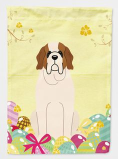 Easter Eggs Saint Bernard Flag Canvas House Size BB6035CHF