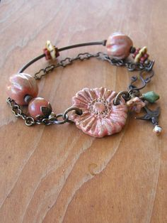 OOAK Autumn Daisy Bracelet by swallowtailjewellery on Etsy