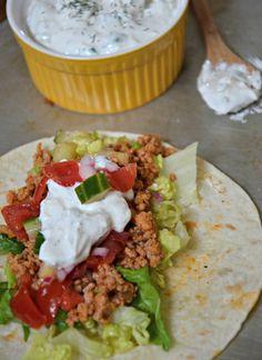 Greek Tacos - Succulent ground turkey, a zesty Greek tomato and cucumber salsa & creamy tzatziki sauce