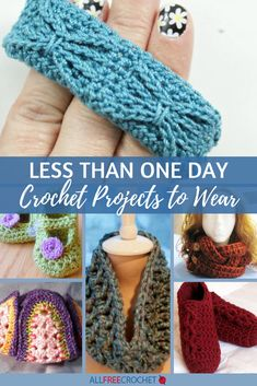 Spice up your old wardrobe with this page: 30 1 Hour Crochet Projects to Wear. With these patterns, you don't have to spend a lot of time or money on new outfits and accessories. All of these crochet patterns can be finished in an hour or less! Scrap Yarn Crochet, One Skein Crochet, Fast Crochet, Wire Crochet, All Free Crochet, Quick Crochet Patterns, Easy Crochet Projects, Knitting Projects, Crochet Edgings
