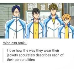 Uhu, Rei-chan is very protective,  Haru-chan doesn't care, Mako-chan is very neat & Then you see Nagisa doesn't know how to wear his jacket - Free! ~ DarksideAnime