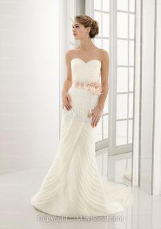 Beautiful Mermaid Sweetheart Hand Made Flower Taffeta Sweep Train Wedding Dress from Millie Bridal
