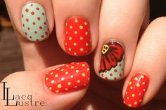 Red Yellow and Blue Floral and Dot Nail Art