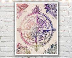 Voyager II - PAPER PRINT, illustration print, compass rose print, wanderlust art print, travel gift