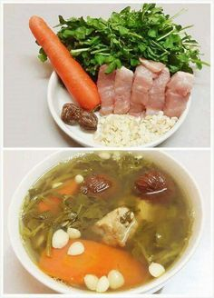 Watercress with Carrot & Chinese Almond Soup Chinese Soup Recipes, Healthy Soup Recipes, Asian Recipes, Cooking Recipes, Asian Foods, Drink Recipes, Yummy Recipes, Cake Recipes, Cooking Chinese Food