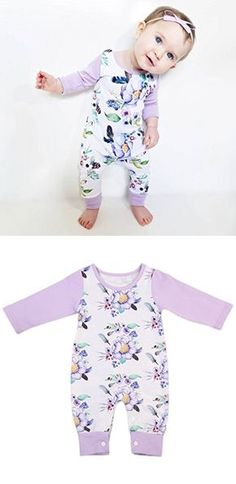 613ac46b07a Newborn Baby Girls Floral Romper Summer Autumn Long Sleeve Romper Jumpsuit  Playsuit Outfit 0-24M (6-12 Months