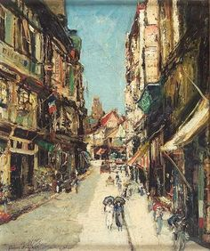 James Kay RSA RSW (1858-1942) La rue Malpalu, Rouen