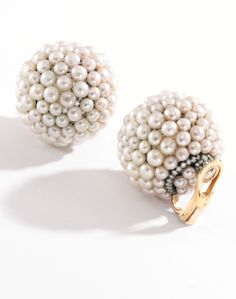 Pair of 18 Karat Gold, Silver, Pearl and Diamond Earclips, Jar, Paris - Sotheby's