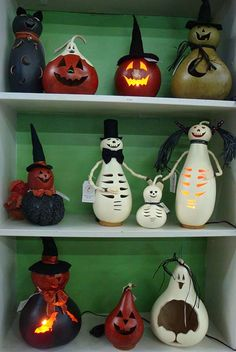 Love these hallowed out lighted gourds and candy bowls!  Handmade in PA.  Characters and Jack-O-Lanterns that last year after year.