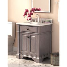 Single sink vanity for compact fit into bathrooms that still offers high quality and a stunning look. Construction includes marble and wood with pre-drilled installation holes for the faucet setup.