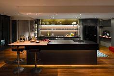 Modern kitchen with island and seating Kitchen, ideas, diy, house, indoor, organization, home, design, cook, shelving, backsplash, oven, desk, decorating, bar, storage, table, interior, modern, life hack.