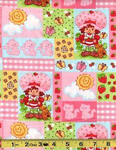 Strawberry Shortcake Patch Pink Cotton Flannel SPx Fabrics BTY | eBay