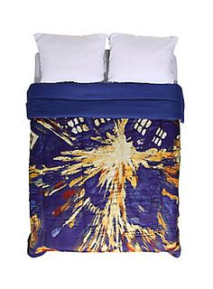"<p>Queen-sized comforter from <i>Doctor Who</i> with exploding TARDIS design.<br /><br />Sheets and pillowcases not included.</p><ul>	<li>88"" x 86""</li>	<li>100% polyester</li>	<li>Wash cold; dry low</li>	<li>Imported</li></ul>"