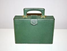 Vintage Gucci Green Pebbled Leather Box Tote.