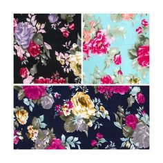 Blooming Rose Bouquet Floral Flower 100% Viscose Challis Print Fabric 140cm Wide