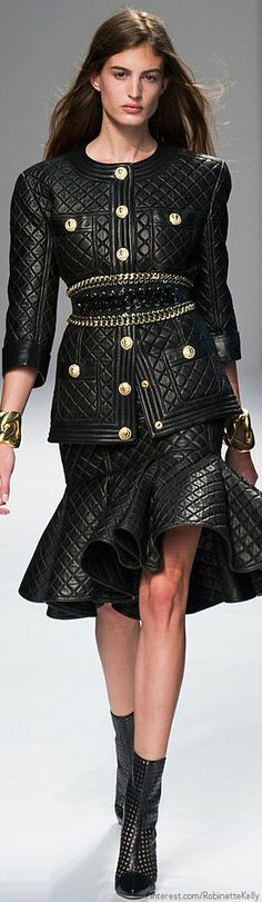Balmain Spring 2014 (HB) black leather quilted coat and trumpet skirt with belt