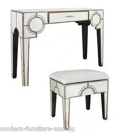 art deco table and stool Product Description The stunning art deco mirrored console table Finished with mirrors and wood this beautiful piece makes a