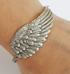 Angel Wing Bracelet , Wing Bracelet, Spiritual Gifts, Sterling Silver Ox or Antiqued Brass Ox Finish- Large Wing Tribal Tattoos, Anklet Tattoos, Tattoos Skull, Tattoo Bracelet, Celtic Tattoos, Dreamcatcher Tattoos, Wing Tattoos, Sleeve Tattoos, Angel Wings Jewelry