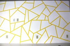 Mural Artist and Illustrator, Austin, TX- A DIY Accent Wall How To — Avery O Design - accent wall Bedroom Murals, Wall Murals, Bedroom Sofa, Painters Tape Design, Geometric Wall Paint, Geometric Art, Geometric Painting, Tape Wall Art, Accent Wall Designs