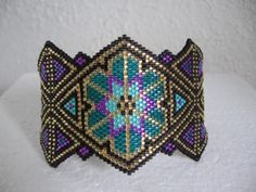 Stained Glass Beadwoven Bracelet - pattern by Charley Hughes Beady Boop