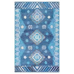 Hand Tufted Diamond Blue Rug - nuLOOM