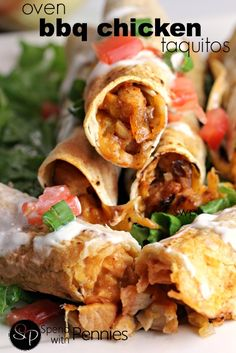 Oven Baked BBQ Chicken Taquitos