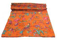 Bird Print King Size Kantha Quilt Orange , Kantha Blanket, Bed Cover, King Kantha bedspread, Bohemian Bedding Kantha Size 90 Inch x 108 Inch