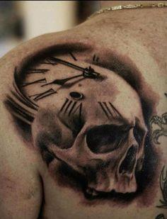 skull clock tattoo | skull clock # tattoo