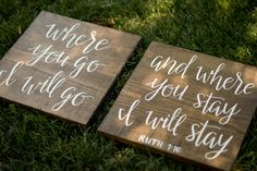 "Ruth 1:16 ""Where You Go I'll Go"" Wood Signs - Hand Lettered Calligraphy by HeartcraftedCo on Etsy"