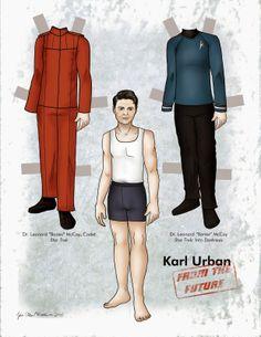 Karl Urban paper doll, published in Paper Doll Studio magazine.  Page 1 of 2. #paperdoll #karlurban #startrek