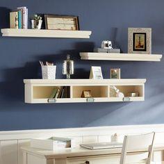 over the desk shelving...also love the dark blue paint for bedroom