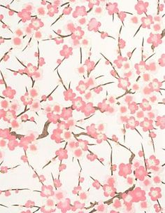 Yuzen Strawberry Blossoms Pearlescent Fine Paper...with a thick silver ribbon = eye candy