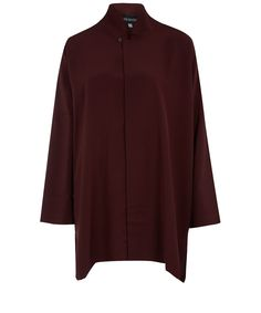 Eskandar Burgundy Imperial Chinese Silk Shirt | Womenswear | Liberty.co.uk