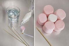 Brochetas de chuches: Tutorial flores rosas de nubes