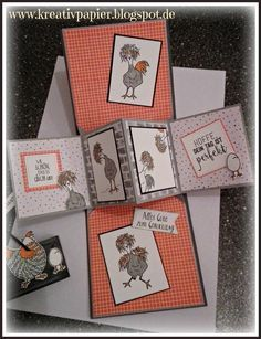 Chicken 🍗 card so dang fun! Pop Out Cards, Cool Cards, Fancy Fold Cards, Folded Cards, Kirigami, Shaped Cards, Stamping Up Cards, Animal Cards, Funny Cards