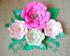 Giant Paper Flower Tutorial with templates DIY paper flower