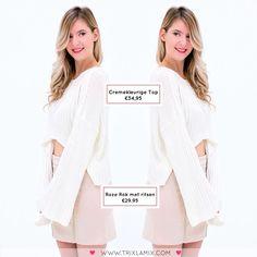 Outfit of the day inspiratie met mooie lente kleurtjes! Combineer de Crèmekleurige Crop Top + Roze Rok met ritsen en je bent ready for spring  Shop op www.trixlamix.com  #trixlamix #outfit #skirt #pink #friday #ootd #ootn #instapic #picoftheday #potd #style #fashion #musthave #musthaves #fashionista #instagood #love #girl