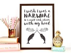 *THIS IS THE INSTANT DOWNLOAD VERSION.* Nothing will be shipped to you. You download this item and print it yourself at home.  You get the following sizes with this download: ☆ 8 x 10 size ☆ A4 international size (8.27 × 11.69in)  Celebrate your favorite sea creature with this humorous narwhal wall art from Fuzzy and Birch. Set against a white background, the text is a watercolor cursive which is complemented by nautical narwhal art. This unique art work reveals your secret desire to be a…