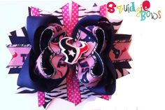 Pink Houston Texans Hair Bow   Ready to Ship by SquidgieBows, $8.00